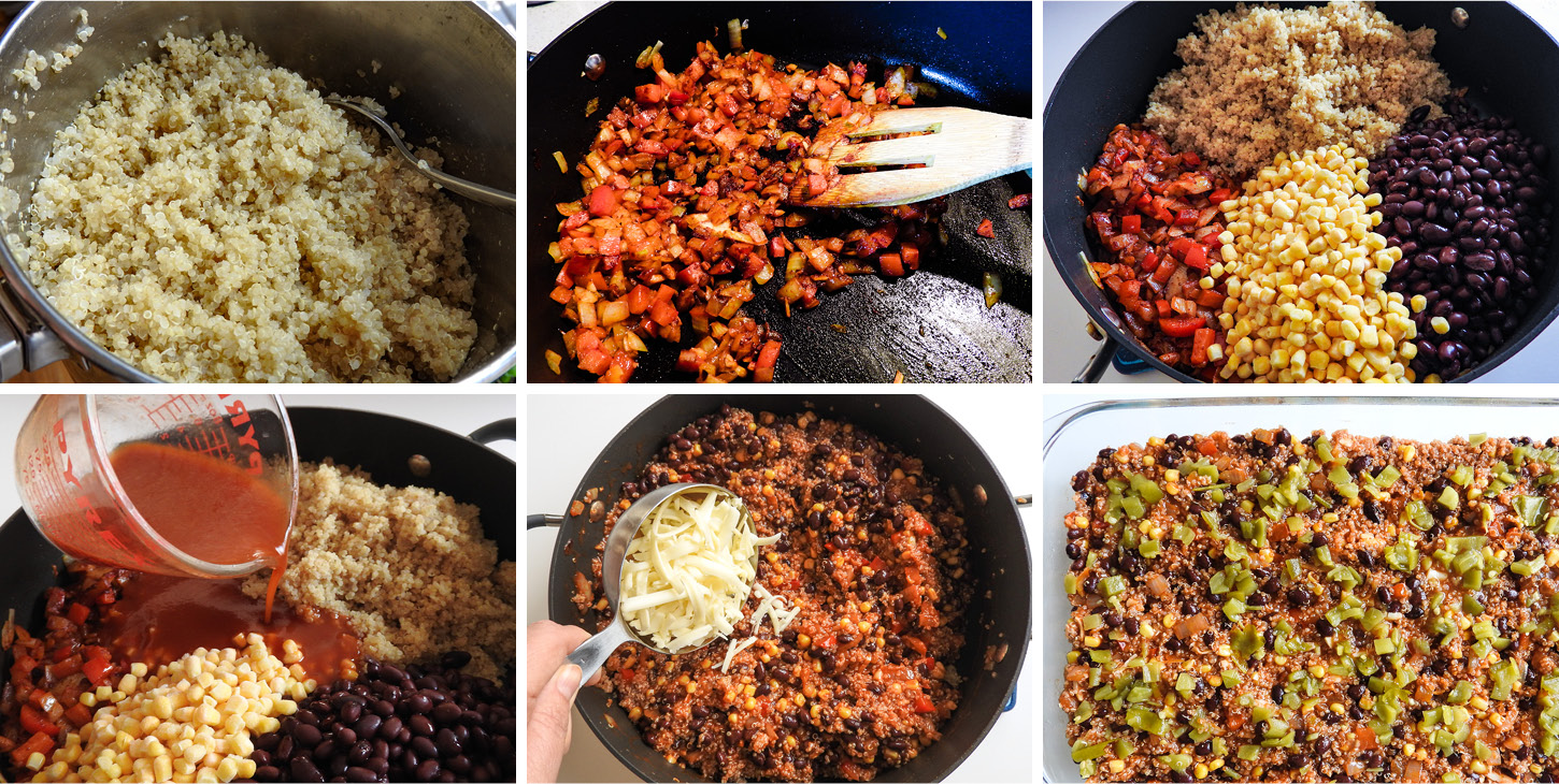 This vegetarian black bean enchilada quinoa bake is a healthy, filling combination of quinoa, black beans, and veggies, baked with enchilada sauce.