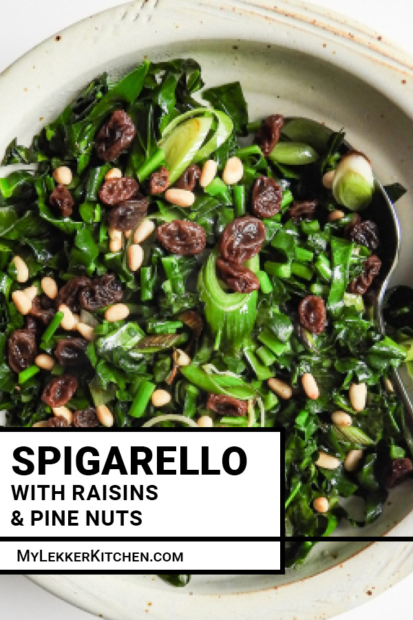 Spigarello sautéed with garlic and topped with pine nuts and raisins is a quick, simple, and perfect introduction to this wonderful ingredient! - My Lekker Kitchen